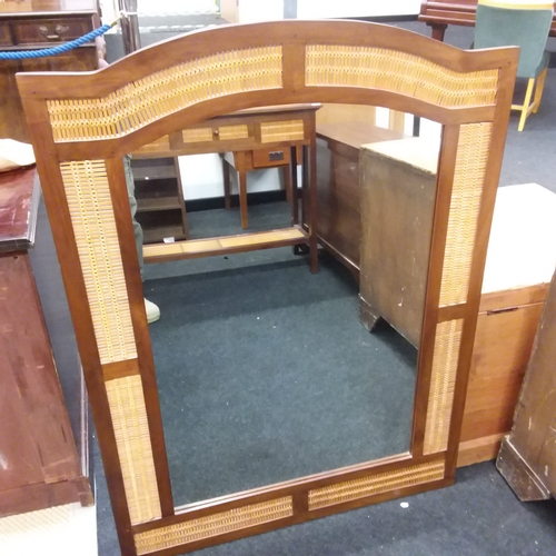 1440 - A hardwood and bamboo screened hall table with a single central drawer together with a large hall mi...