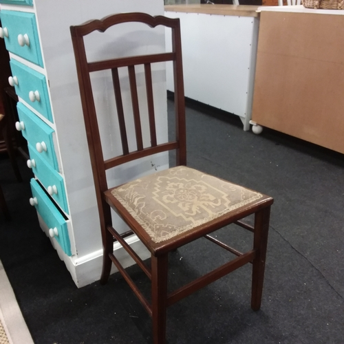 1463 - A single dining chair with satinwood inlay....