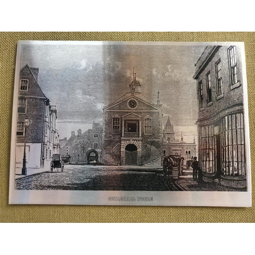 2033 - Two framed urban scenes printed on metal, showing Poole and Bristol....