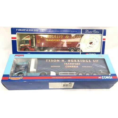 425 - Two Corgi 1:50 scale trucks - 75408 Leyland DAF 85 Curtainside - T.Brady & Son Ltd and CC13603 Tyson...