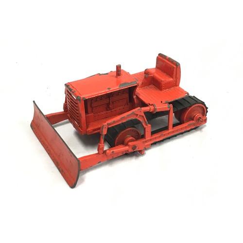 423 - Matchbox Early Moko Lesney Toys large scale Caterpillar Bulldozer - orange body & blade, orange meta...
