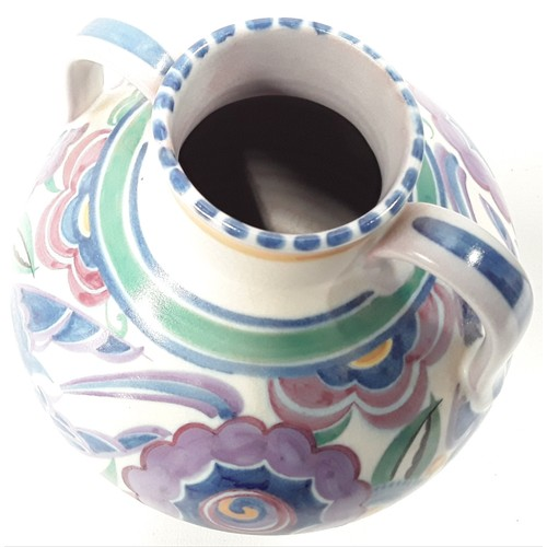 10 - Poole Pottery shape 429 large HE pattern (blue bird) by Vera Bridle 10.25