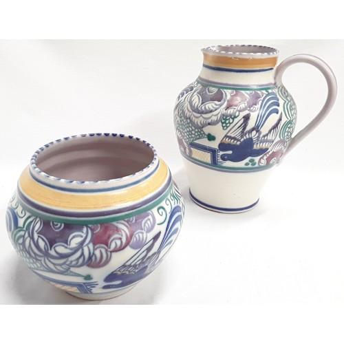 131 - Poole Pottery Carter Stabler Adams PN pattern jug by Hilda Hampton 8