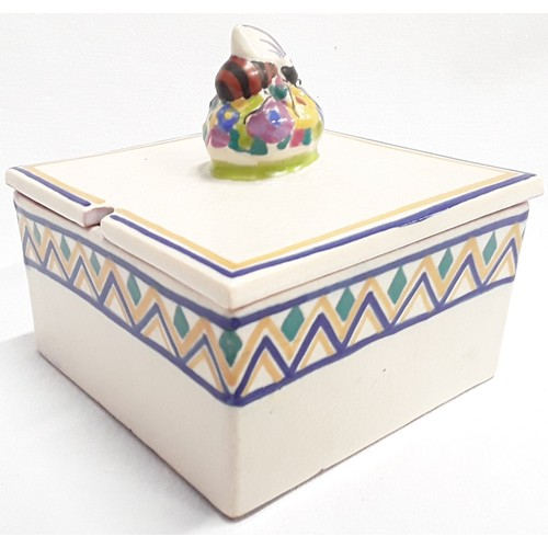 135 - Poole Pottery Carter Stabler Adams shape 941 LD pattern honey box and cover with bee finial by Rene ...