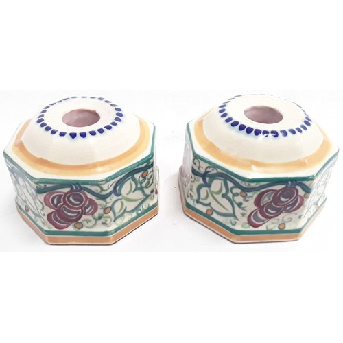 133 - Poole Pottery Carter Stabler Adams pair of matching shape 186 TR pattern (grape) candle holders by D...
