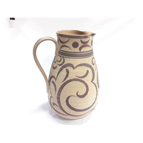 1 - Poole Pottery Carter Stabler Adams unglazed shape 944 HZ pattern jug painted by Ruth Pavely as shown...