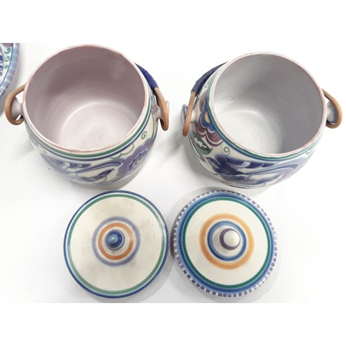 14 - Poole Pottery Carter Stabler Adams pair of shape 230 PB pattern (blue Bird) lidded biscuit barrels t...