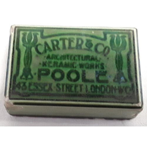 27 - Carters & Co Poole Pottery Lustre desk paperweight advertising the Essex Street showroom London....
