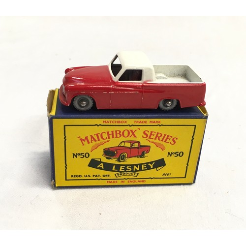 365 - Matchbox Regular Wheels No.50a Commer Pick-up Truck - red body with mask sprayed silver & headlamps ...