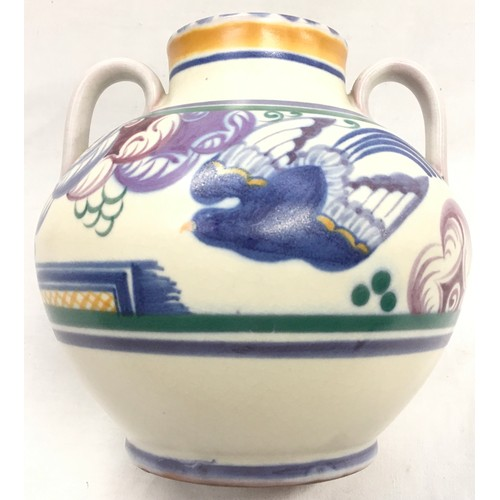 139 - Poole Pottery Carter Stabler Adams shape 202 PN pattern twin handled vase by Eileen Prangnell 6.5