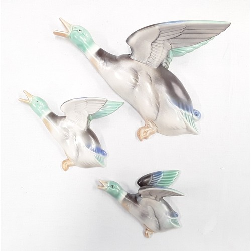 109 - Poole Pottery set of three wall mounted flying ducks 812/1, 812/2, 812/3, designed and modelled by J...