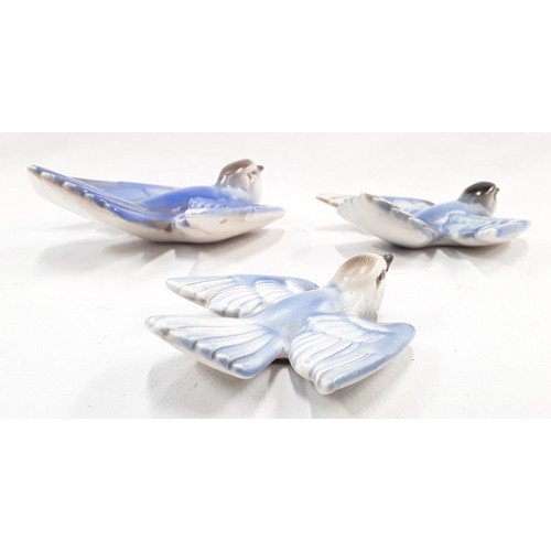 110 - Poole Pottery Bluebirds 807/1, 807/2, 807/3 designed and modelled by John Adams (not a matching set)...