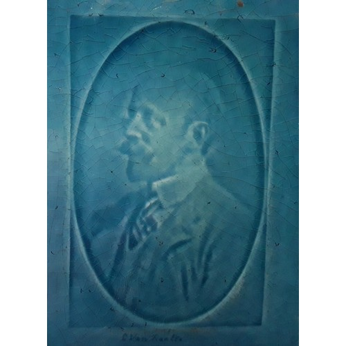 33 - Poole Pottery Charles Van Raalte portrait tile/plaque  shown on page 23 of the Hayward & Atterbury P...