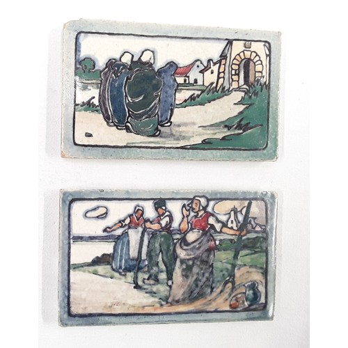 40 - Poole Pottery Carter & Co two small rectangular Dutch scene tile 5x3