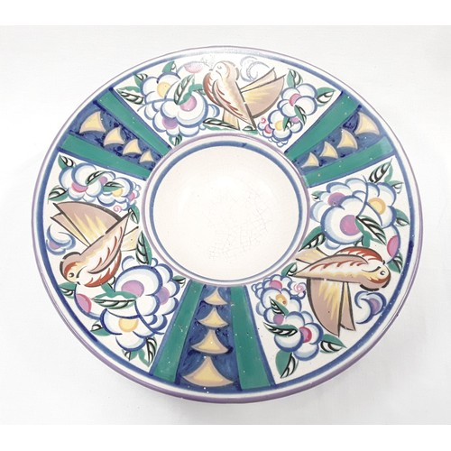 11 - Poole Pottery Carter Stabler Adams ZV pattern shape 847 large footed bowl. (crazing to centre) 12.8