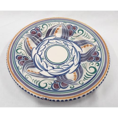 13 - Poole Pottery Carter Stabler Adams VJ pattern dish by Anne Hatchard 10.5