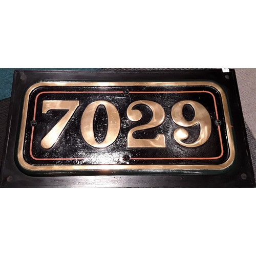 192 - Railway locomotive cabside number plate 7029. Good Condition. 7029 Clun Castle is a railway locomoti...