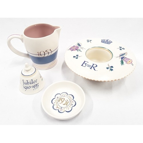 125 - Poole Pottery commemorative ware to include 1910-1935 jubilee bell by Nellie Bishton, shape 175 Edwa...