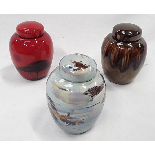 100 - Poole Pottery three small living glaze ginger jars and covers 4
