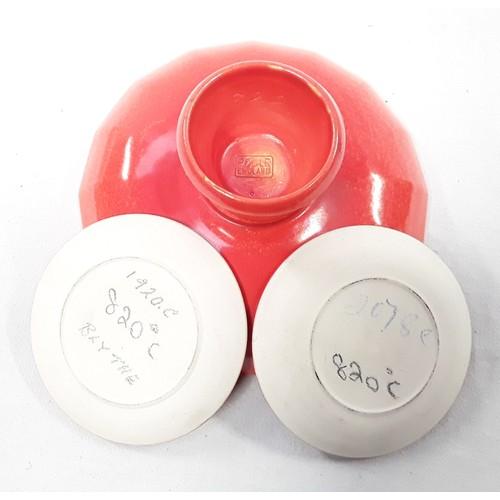 21 - Poole Pottery shape 883 orange uranium glaze small footed bowl together with 2 similar small 3