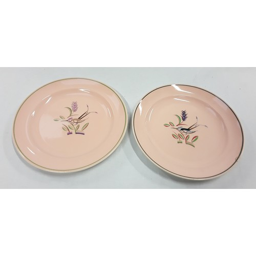142 - Poole Pottery unusual pair of trial plates depicting birds marked to reverse with glaze, colour and ...