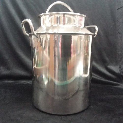 1011 - A stainless steel 1/4 size milk churn 29cm high.(37)....