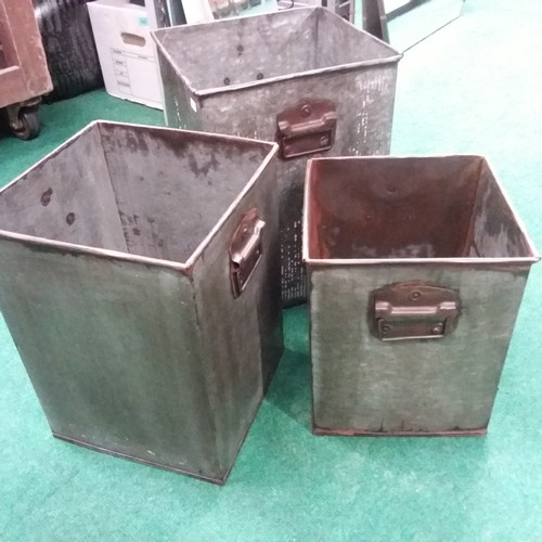 1008 - A set of three steel square tubs.(198)....