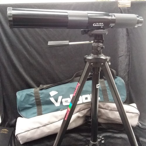 1143 - A Greenkat 12 x 40 x 40 spotting scope together with a Hama profil 25 tripod both with carrying case...