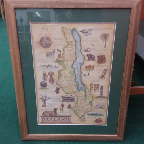 1091 - A large framed print of the geographical area of Malawi....
