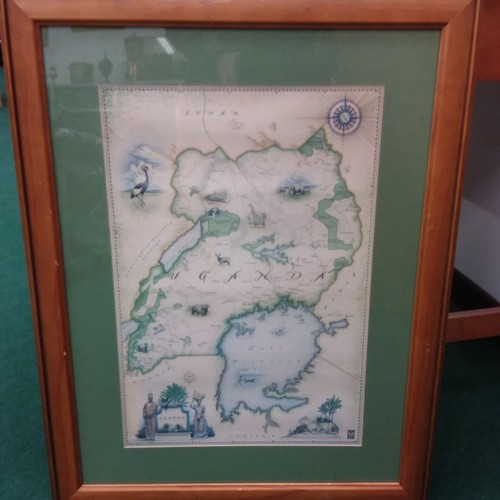 1092 - A large framed print of the geographical area of Uganda....