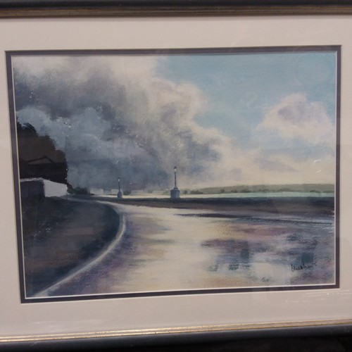 1077 - An acrylic on paper of local scene Shore Road Poole harbour by D Matthews....