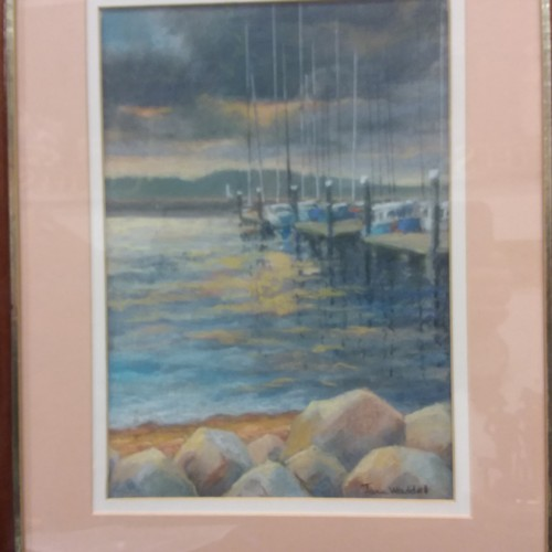 1075 - A framed Pastel by Joan Waddell titled storm over Brownsea Island....