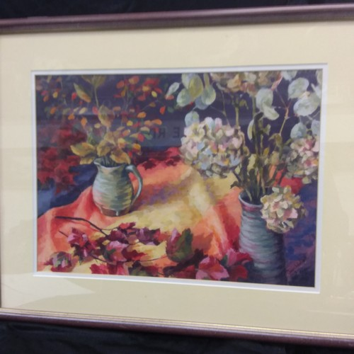 1076 - A framed acrylic by Joan Waddell titled Autumn Colours....