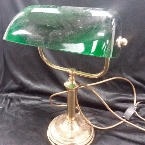 1026 - A brass office desk lamp with a green glass lamp cover....