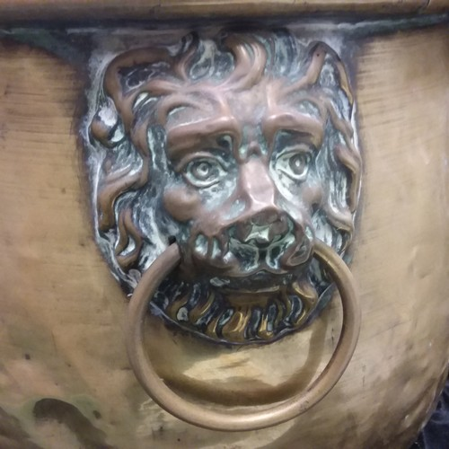 1006 - A large brass planter with lion's head handles....