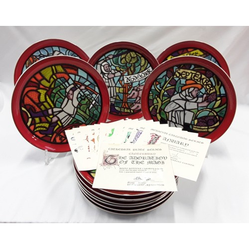101 - Poole Pottery set of 12 Medieval Calendar plates, designed by Tony Morris, limited edition of 1000 e...