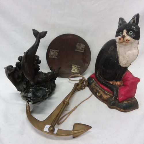 1049 - Mixed collectables to include a cast iron cat door stop, decorative ships anchor, resin water featur...