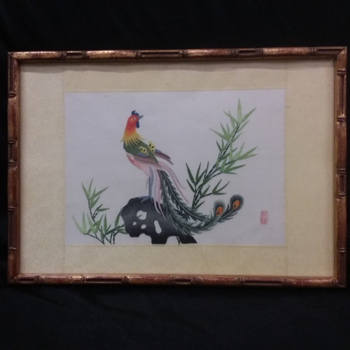 1126 - A Chinese silk embroidery picture on rice paper circa 1960s....