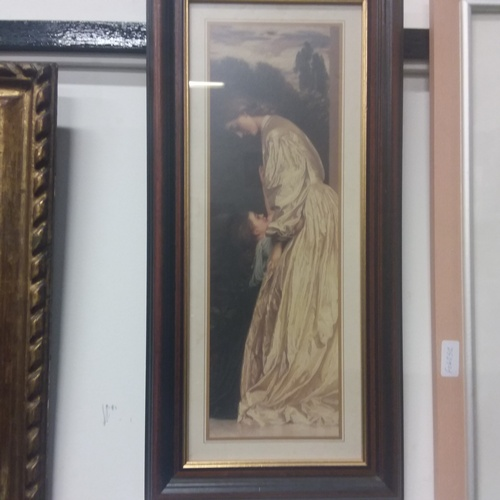 1154 - A mahogany framed print of a lady and child....