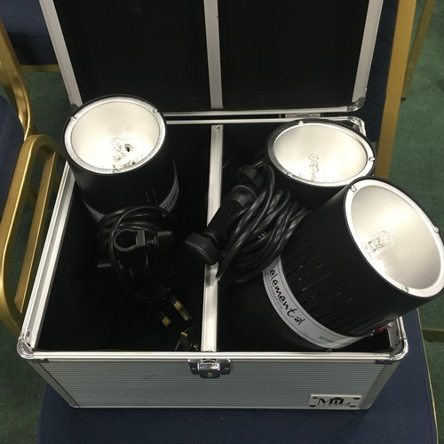 2027 - An aluminium case containing three Elemental photographic lights....