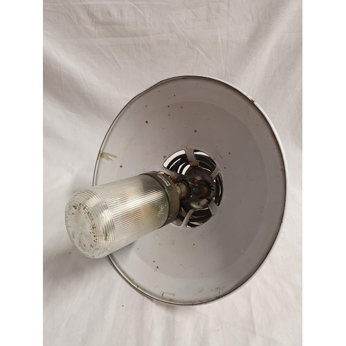 2042 - A metal shaded outdoor ceiling light....