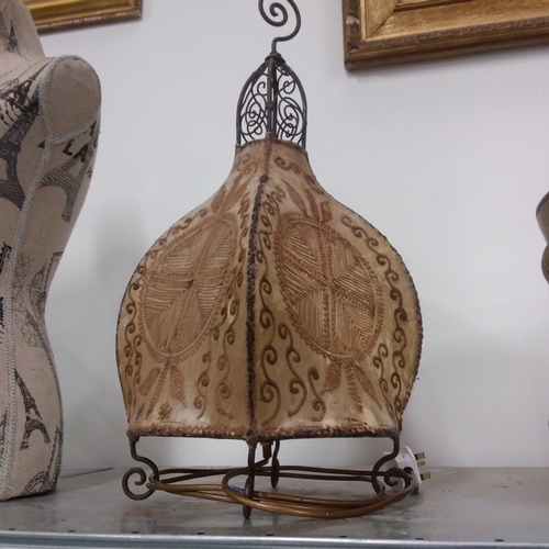 1177 - An unusual metal framed table lamp....