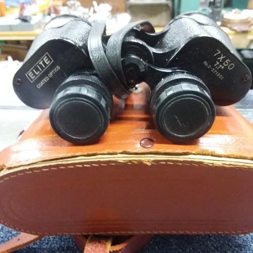 1184 - A pair of vintage Elite 7x50 binoculars with case....