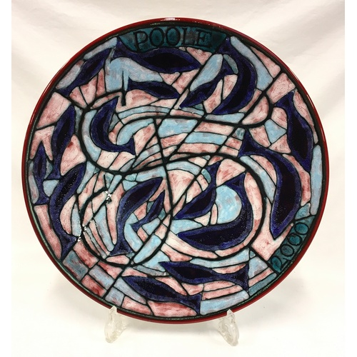 102 - Poole Pottery studio Tony Morris charger (Poole 2000) depicting fish, signed by artist J.16, boxed 1...
