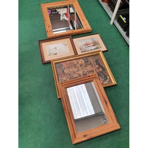 1231 - A collection of framed pictures together with a modern pine framed mirror....