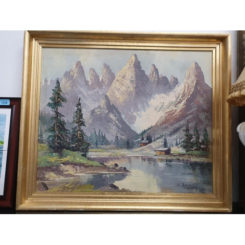 1238 - A framed oil on canvas of a mountain scene. Signed A. Ravolli....