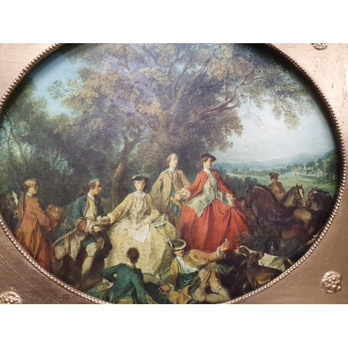 1240 - A gilt framed oil on canvas of a Victorian country scene....
