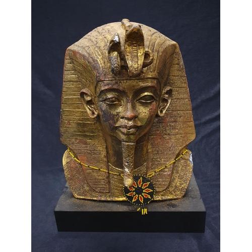 1248 - A resin bust of Tutankhamun mounted on resin base....