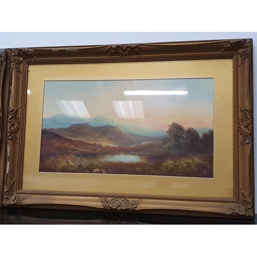 1250 - A pair of gilt framed oil on board paintings of nature scenes....