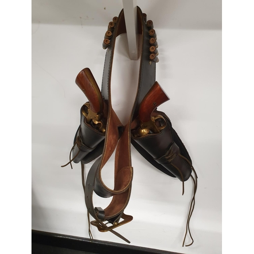 1260 - Two replica Remington Revolvers. Blank firing with holster belt....